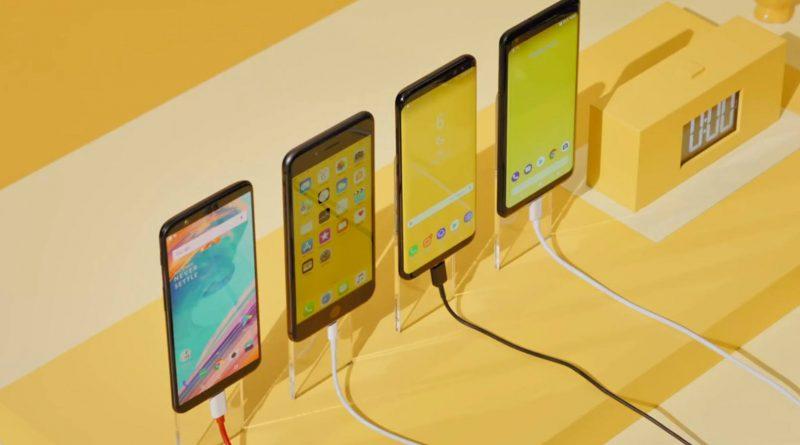 OnePlus 5T ładowanie baterii Dash Charge vs iPhone 8 Plus Galaxy S8 Google Pixel XL 2
