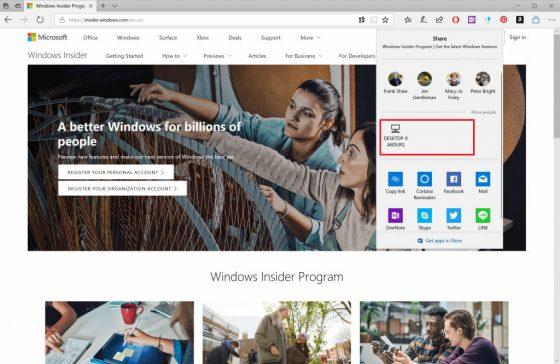 Windows 10 Redstone 4 Near Share AirDrop
