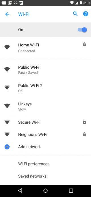 Android 8.1 Oreo prędkość publicznych sieci Wi-Fi