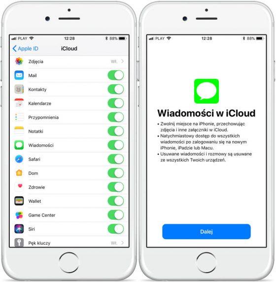 iOS 11.3 beta 1 wiadomości w iCloud