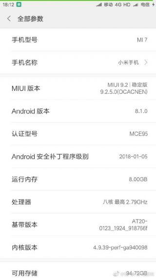 Xiaomi Mi 7 specyfikacja Android 8.1 Oreo
