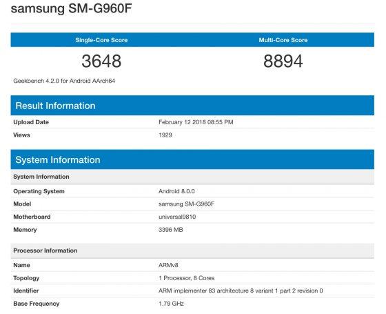 Samsung Galaxy S9 Exynos 9810 wydajność