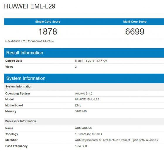 Huawei P20 Geekbench Galaxy S9