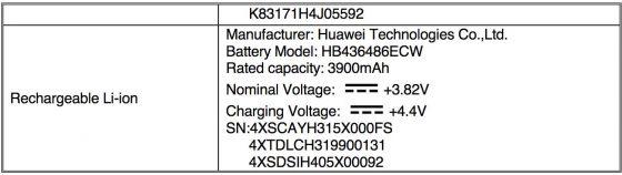 Huawei P20 Pro FCC bateria