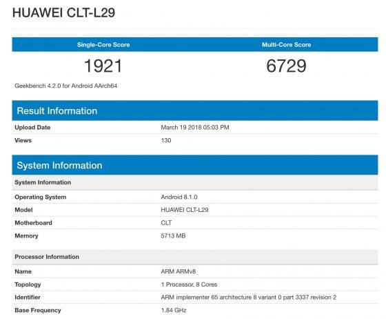 Huawei P20 Pro specyfikacja Geekbench
