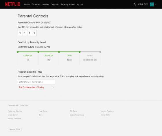 Netflix kontrola rodzicielska