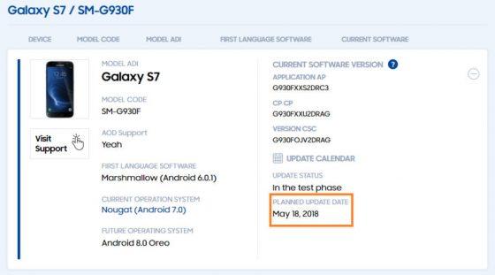 Samsung Galaxy S7 Edge Android Oreo kiedy