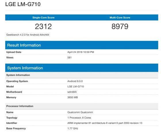 LG G7 ThinQ Geekbench