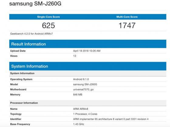 Samsung Galaxy J2 Android Go Oreo