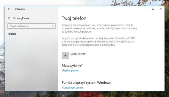 Windows 10 April 2018 Update sekcja Telefon w Ustawienia