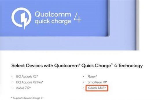 Xiaomi Mi 8 Quick Charge 4.0