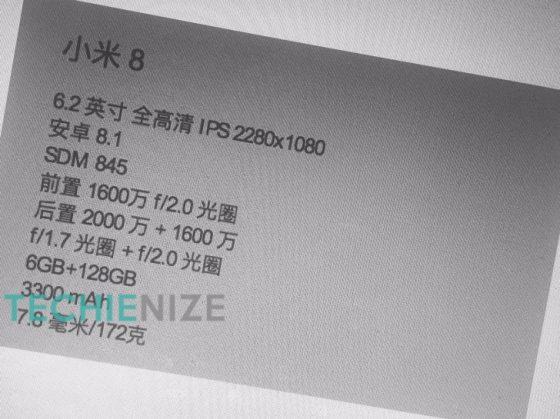 Xiaomi Mi 8 specyfikacja Xiaomi Mi 7