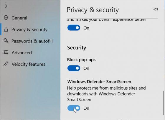 Microsoft Edge Windows 10 Redstone 5 nowe ustwienia