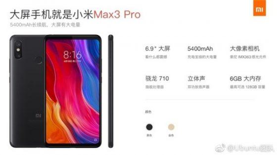 Xiaomi Mi Max 3 Pro Qualcomm Snapdragon 710 kiedy premiera specyfikacja techniczna