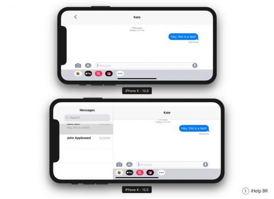 Apple iPhone X Plus tryb poziomy iOS 12 beta 5