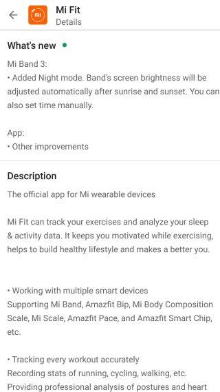 Xiaomi Mi Band 3 aktualizacja Mi Fit tryb nocny