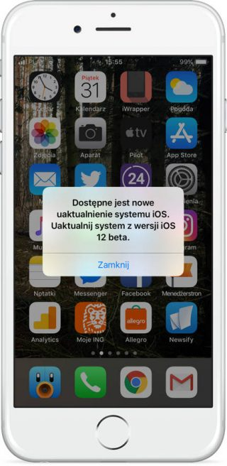 iOS 12 beta 12 Apple iPhone błąd fałszywe komunikaty