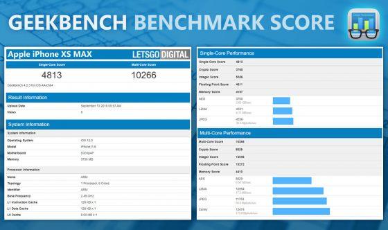 iPhone Xs Max Apple A12 Bionic Geekbench ile pamięci RAM specyfikacja techniczna