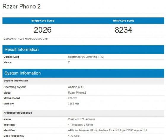 Razer Phone 2 kiedy premiera specyfikacja techniczna smartfon do gier Geekbench