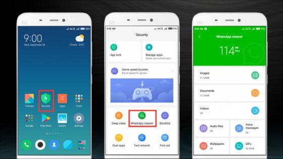 Xiaomi WhatsApp Cleaner MIUI 10 beta