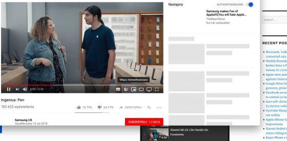 miniodtwarzacz YouTube aplikacje Google obraz w obrazie na desktopach w przeglądarce