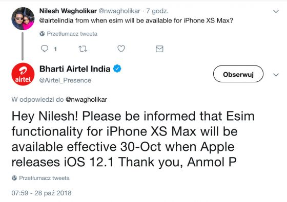 Apple iOS 12.1 beta kiedy aktualizacja eSIM iPhone Xs Max