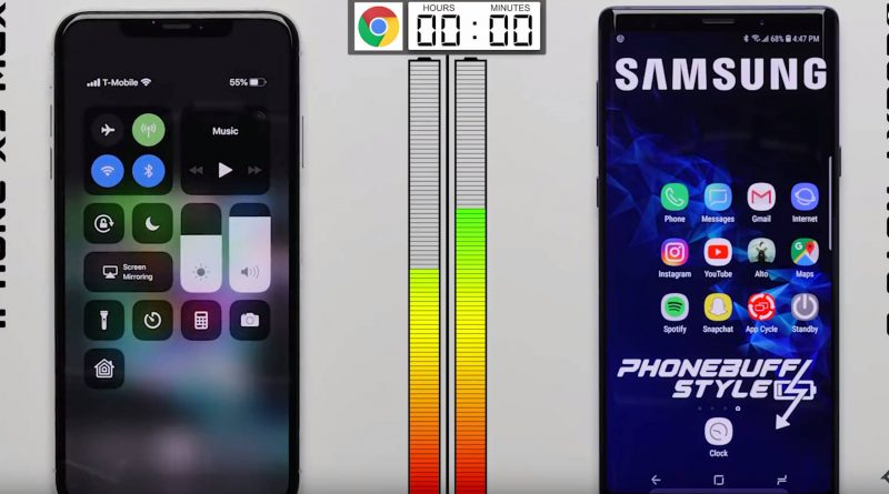 iPhone Xs Max vs Samsung Galaxy Note 9 test baterii