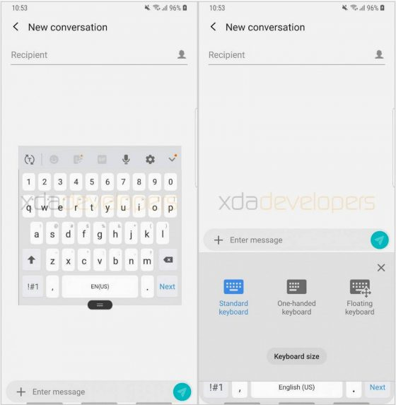 Samsung Experience 10 Android Pie for Galaxy S9 floating Samsung keyboard