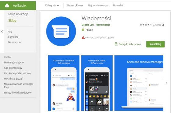 wiadomości na androida google