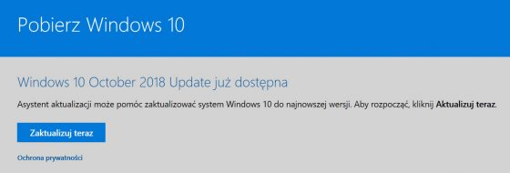 jak zainstalować Windows 10 October 2018 Update Redstone 5