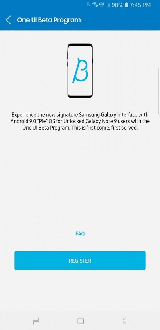 Samsung Galaxy Note 9 Android Pie beta One UI kiedy aktualizacja testy