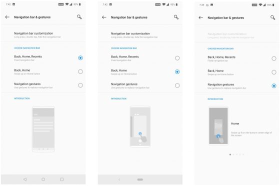 OnePlus 6T gestures for navigation settings