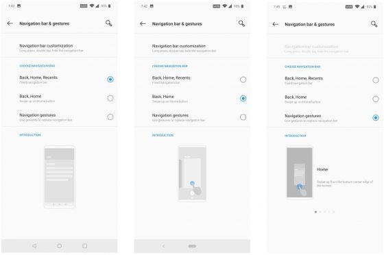 OnePlus 6T gesty nawigacji ustawienia