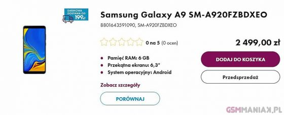 Samsung Galaxy A9 2018 price premiere technical specification when in Poland where to buy the cheapest premiere reviews
