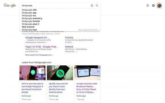 Wyszukiwarka Google z Material Theme