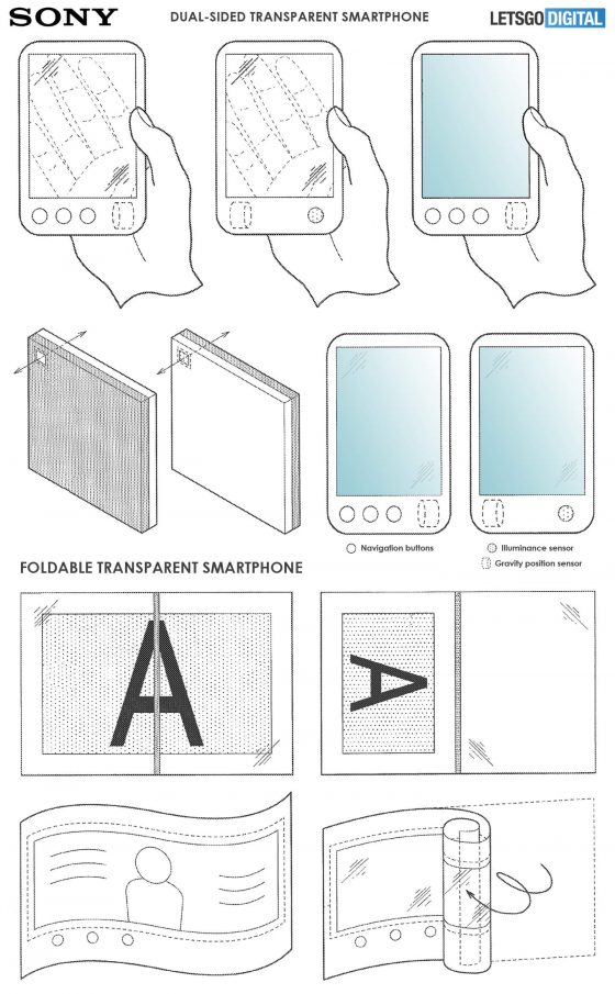 Foldable smartphone Sony Xperia patents