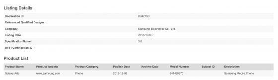 Samsung Galaxy A8s kiedy premiera specyfikacja techniczna opinie gdzie kupić najtaniej w Polsce Bluetooth SIG