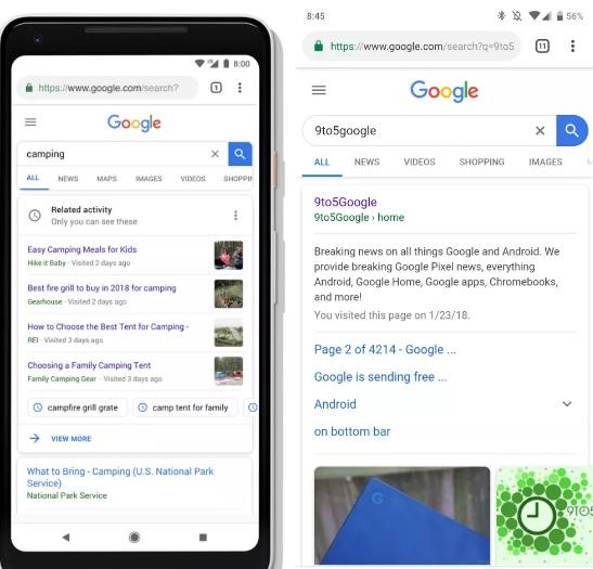 wyszukiwarka google mobile na Androida Material Theme