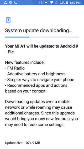 Xiaomi Mi A1 upgrade for Android Pie 9