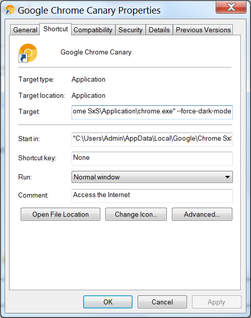 google chrome canary dark mode tryb ciemny Windows 10