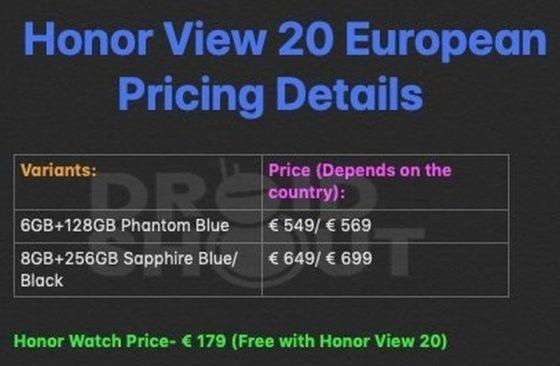 Honor View 20 cena Honor Watch opinie gdzie kupić najtaniej w Polsce specyfikacja techniczna