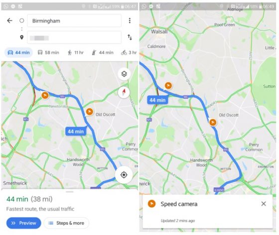 mapy google test kontrola radarowa
