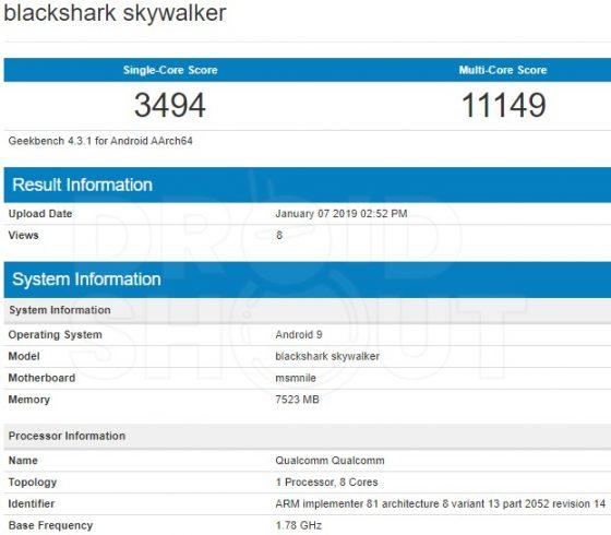 Xiaomi Black Shark 3 Skywalker Geekbench Snapdragon 855 kiedy premiera specyfikacja techniczna