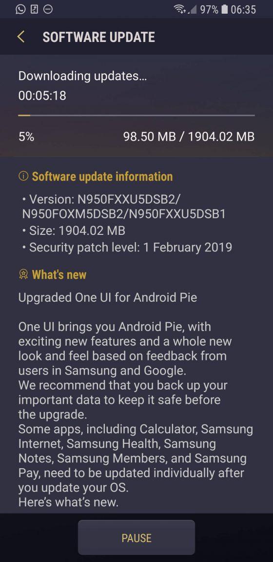 Samsung Galaxy Note 8 s8 aktualizacja Android Pie One UI