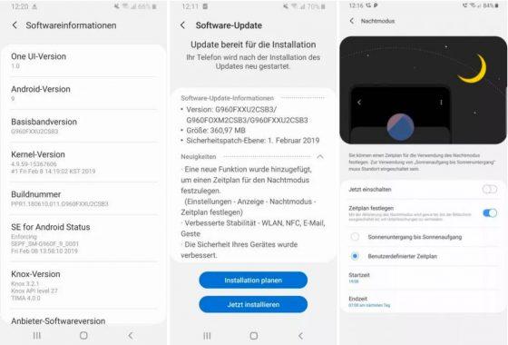 Samsung Galaxy S9 lutowe poprawki bezpieczeństwa aktualizacja OTA Android Pie One UI tryb nocny harmonogram