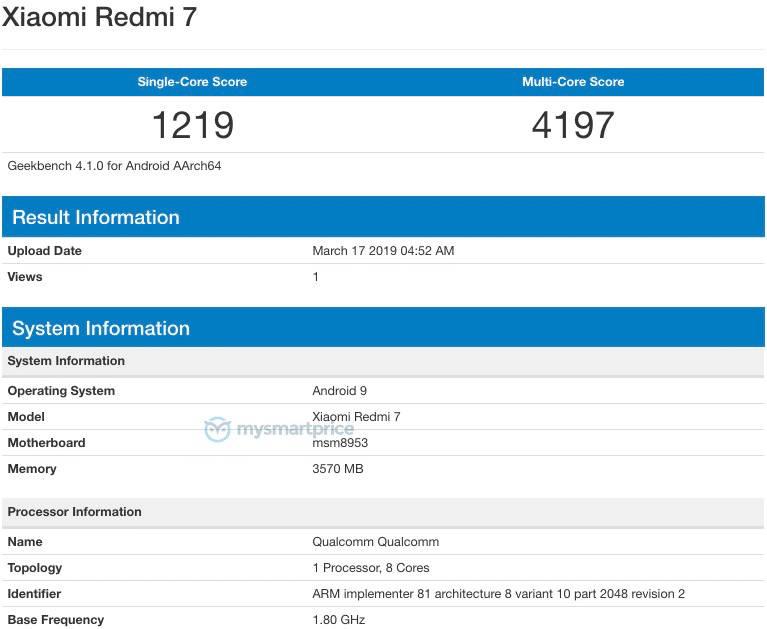 Xiaomi Redmi 7 cena kiedy premiera specyfikacja techniczna Geekbench gdzie kupić najtaniej w Polsce