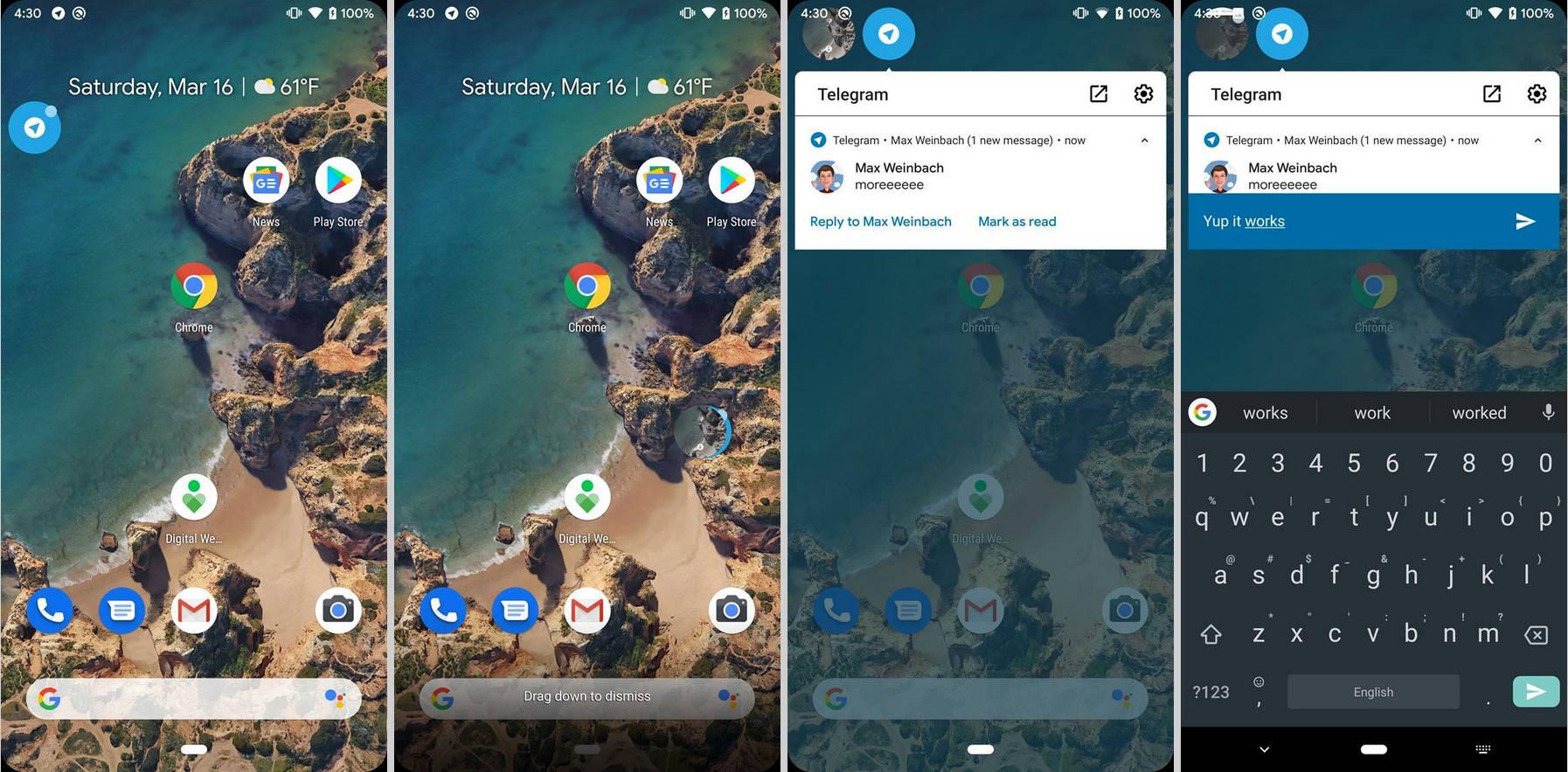 Android Q beta czaty powiadomienia Facebook Messenger