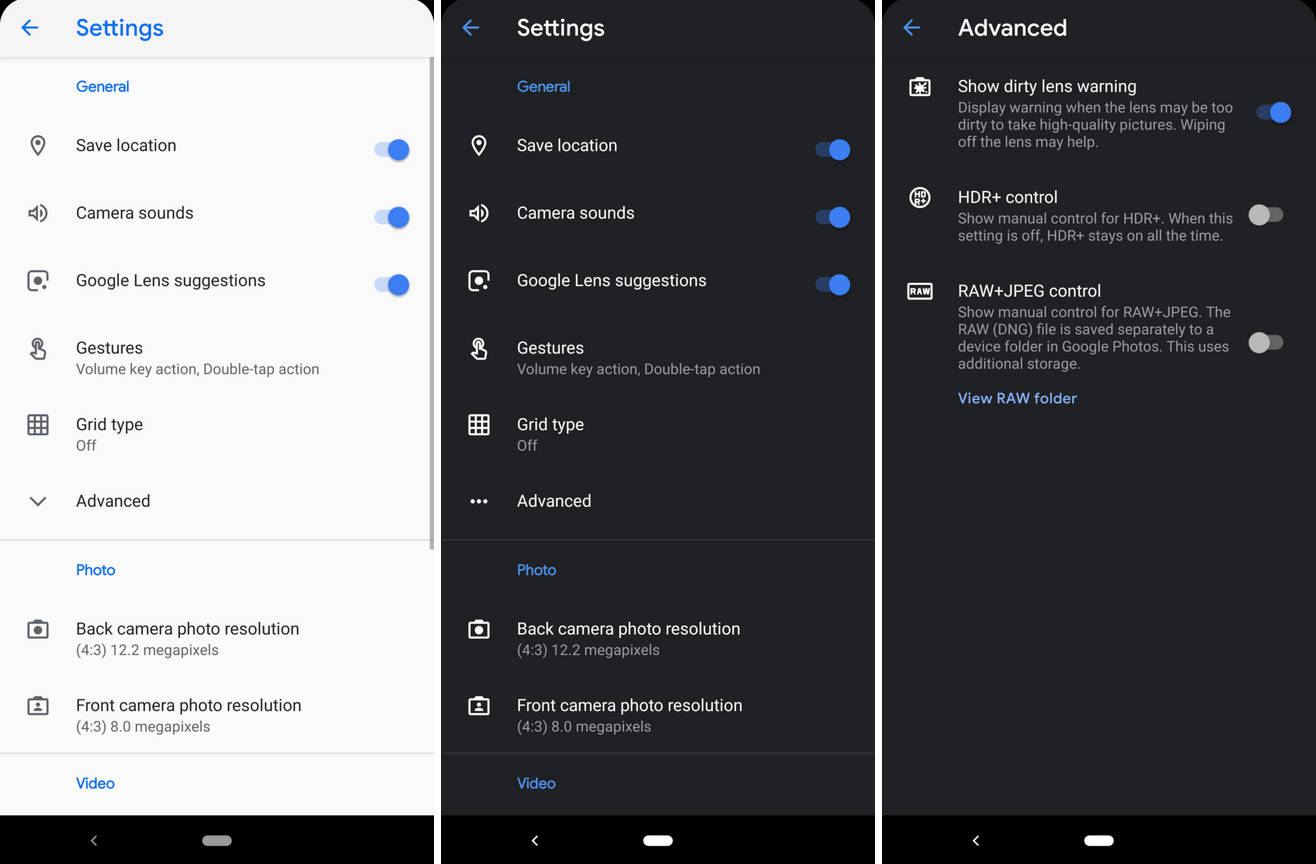 Aparat Google 6.2 dark mode tryb ciemny motyw ustawienia nowości co nowego Android