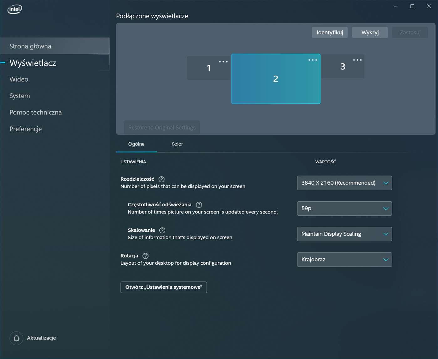Centrum sterowania grafiką Intel dla Windows 10 skąd pobrać aplikacja ustawienia grafiki