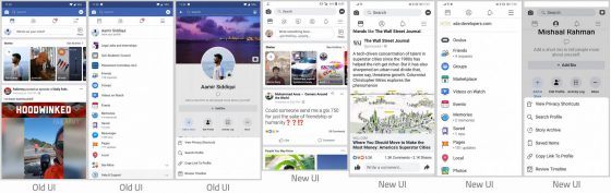 Aplikacja Facebook nowy wygląd UI interfejs użytkownika Android